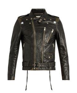 Saint Laurent | Star-Print Tarnished-Leather Jacket