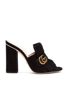 Gucci | Marmont Fringed Suede Sandals