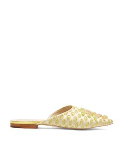 Delpozo | Brocade And Bead-Embellished Backless Flats