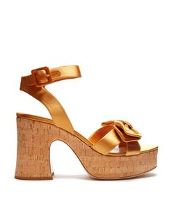 Miu Miu | Bow-Detail Satin Platform Sandals