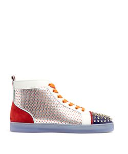 CHRISTIAN LOUBOUTIN | Louis Contrasting High-Top Leather Trainers