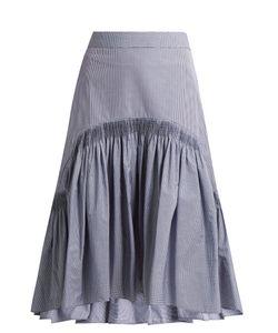 TEIJA | Smocked Dip-Hem Checked Cotton Skirt