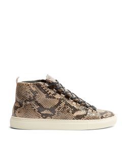 Balenciaga | Arena High-Top Python-Effect Leather Trainers