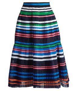 Muveil   Ribbon-Striped Pleated Organza Skirt