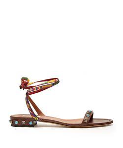 Valentino | Rockstud Rolling Leather Flat Sandals