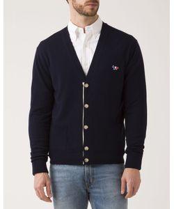 Maison Kitsuné | Navy Merino Wool Cardigan With Patch