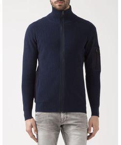 G-STAR | Navy Powel Zip Cardigan With Sleeve Detail