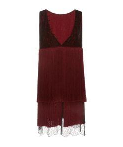 Prabal Gurung | V-Neck Fringe Silk Mini Dress