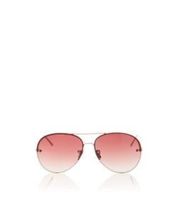 Linda Farrow | Frameless Burgundy Aviator Sunglasses