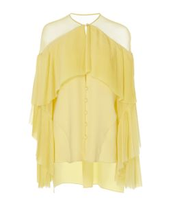 Prabal Gurung | Long Sleeve Silk Blouse With Pleated Front