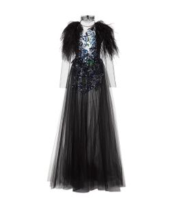 Monique Lhuillier | Long Sleeve Embroide Gown With Feathers