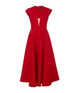 Paule Ka | Cap Sleeve Volumed Dress With Nude Illusion V-Neck