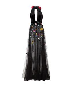 Monique Lhuillier | Halter Neck Embroide Gown
