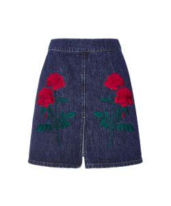 Adam Selman   Embroide Denim Mini Skirt