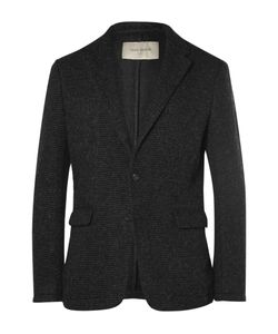 Casely-Hayford | Charcoal Titus Ribbed Felted Cotton-Blend Blazer Gray