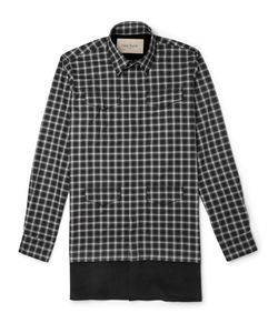 Casely-Hayford | Stanley Corduroy-Panelled Plaid Cotton Shirt Gray
