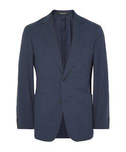 Richard James | Blue Spirit Slim-Fit Gingham Stretch-Cotton Seersucker Blazer