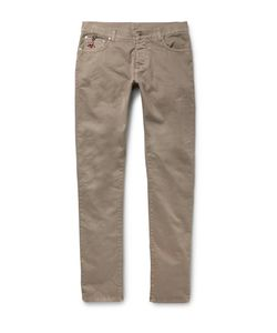 Isaia | Slim-Fit Stretch-Cotton Twill Trousers