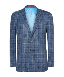Isaia | Slim-Fit Checked Wool Linen And Silk-Blend Blazer
