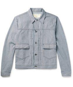 Maison Kitsuné   Slim-Fit Embroide Striped Denim Jacket