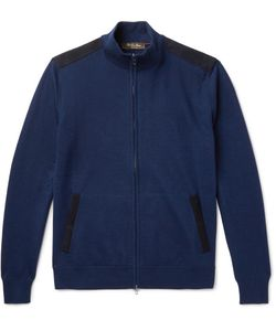 Loro Piana | Suede-Trimmed Cashmere And Silk-Blend Zip-Up Cardigan
