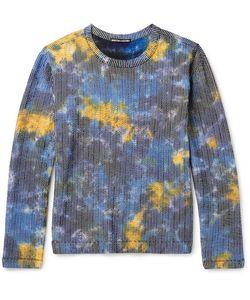 Issey Miyake   Men Slim-Fit Tie-Dyed Cotton-Blend Seersucker T-Shirt