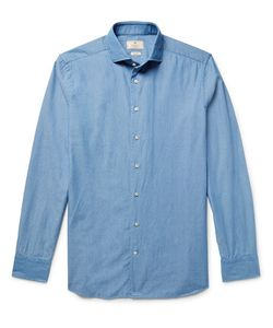 Hackett | Slim-Fit Cutaway-Collar Textu-Cotton Shirt