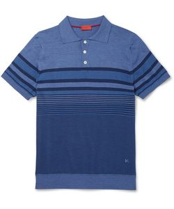 Isaia | Striped Linen And Cotton-Blend Polo Shirt