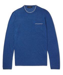 Ermenegildo Zegna | Contrast-Tipped Silk And Linen-Blend Sweater