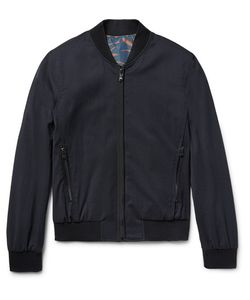 Wooyoungmi | Reversible Wool-Blend Seersucker And Printed Shell Bomber Jacket