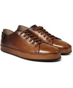 Santoni | Burnished-Leather Sneakers