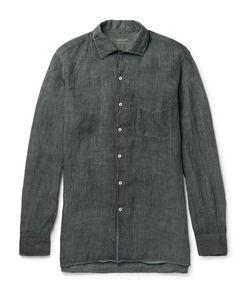 Massimo Alba   Watercolour-Dyed Washed-Ramie Shirt