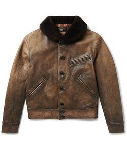 Rrl   Billings Shearling-Trimmed Distressed Leather Jacket