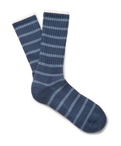 Norse Projects | Bjarki Striped Ribbed Loopback Cotton-Blend Socks