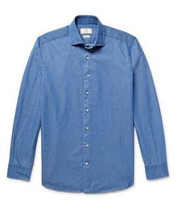 Hackett | Slim-Fit Cutaway-Collar Polka-Dot Cotton-Chambray Shirt