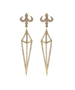 House Of Waris | Lantern 18kt Yellow Gold Drop Earrings With White Diamonds