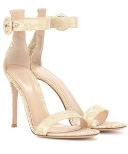Gianvito Rossi   Portofino 105 Leather And Lace Sandals