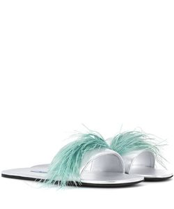 Prada | Feather-Trimmed Leather Sandals