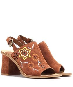 See by Chloé   Embroide Suede Sling-Back Sandals