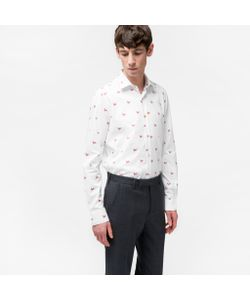 Paul Smith | Mens Tailo-Fit Rooster Motif Cotton-Twill Shirt