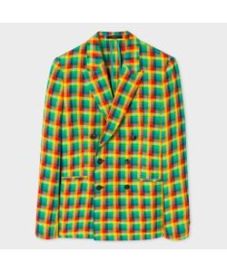 Paul Smith | Mens Tailo-Fit Double-Breasted Madras Check Linen-Blend Blazer