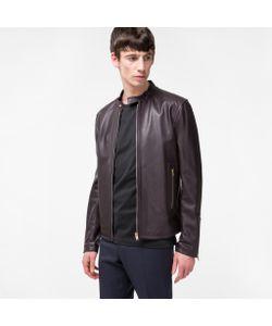 Paul Smith | Mens Grained Leather Biker Jacket