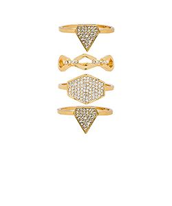 LUV AJ | Pave Shield Ring Set