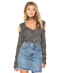 Pam & Gela | Long Sleeve V Neck Cold Shoulder Top