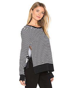 Pam & Gela | Stripe Side Slit Sweatshirt