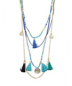 Cara | Beaded Tassel Pendant Necklace