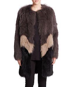 Meteo By Yves Salomon   Colorblock Fox Rabbit Fur Coat