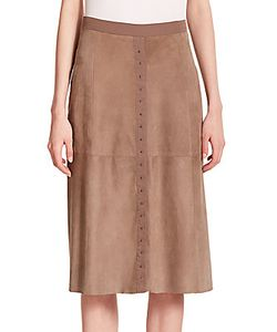 Halston | Mixed-Media Stud-Detail Skirt