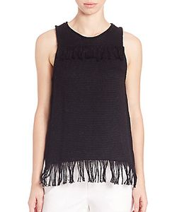 Tess Giberson | Cotton Knit Weave Fringe Top