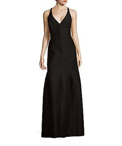 Halston | Solid Cotton-Blend Sleeveless Gown